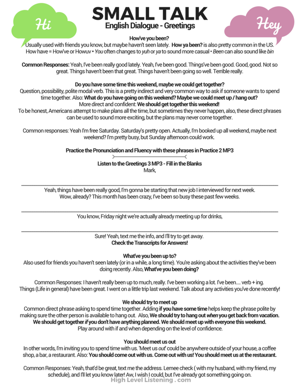 Advanced English Small Talk Greetings Worksheets And Dialogues With