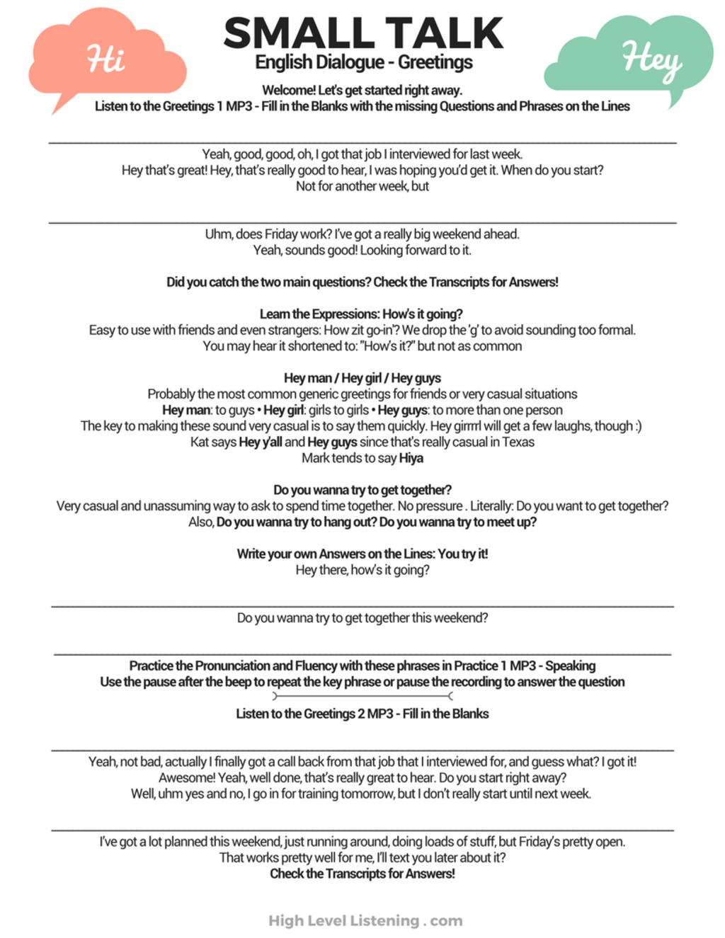 Advanced english small talk greetings worksheets and dialogues with advanced english small talk greetings worksheets and dialogues with mp3s high level listening m4hsunfo
