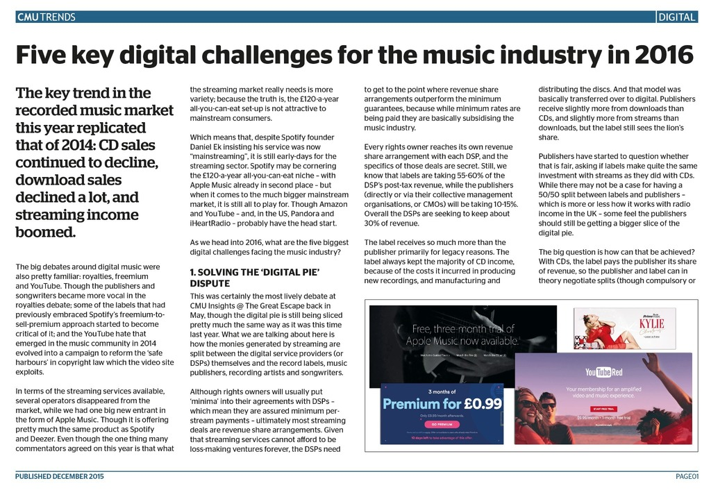 CMU Trends: Five key digital challenges for the music industry in 2016 -  CMU Shop