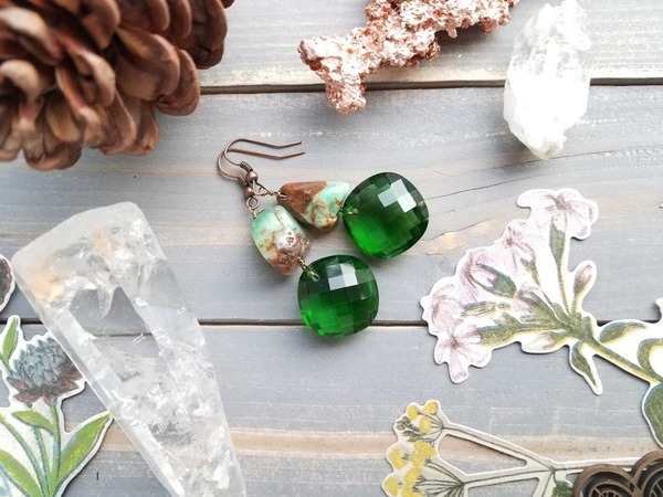 Tuolumne River Earrings | green turquoise & vintage glass