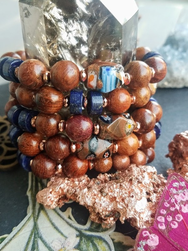Copperopolis | 1-Piece Chunky Wood, Copper, Lapis Lazuli, Goldstone stretch bracelet