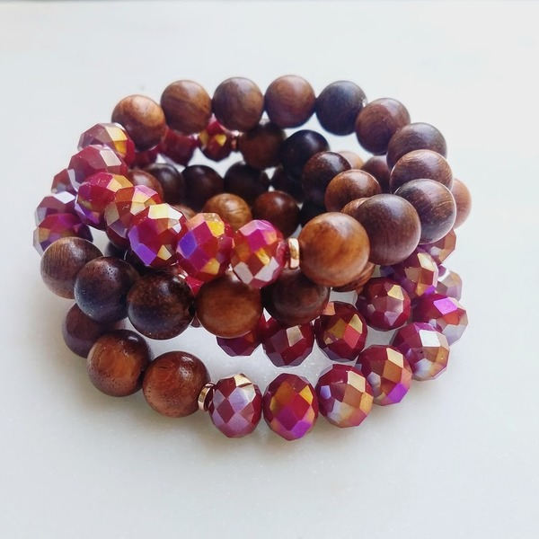 Aurora Earth | 1 - piece chunky wood and Czech glass stretch bracelet