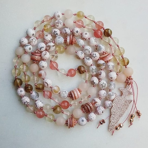 Celestial | 108-bead dream work mala - agate, watermelon tourmaline & natural shell