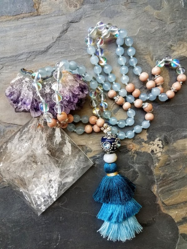 Resplendant with Grace |108 bead mala of natural rosewood, angel aura quartz and aquamarine