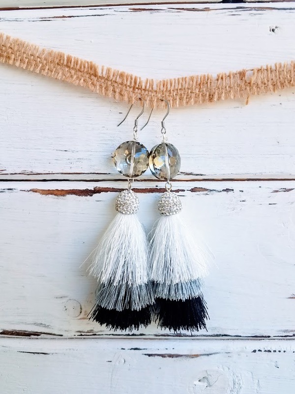 Thunder Moon earrings | 3-tier tassel silver, white & ebony with floral crystal