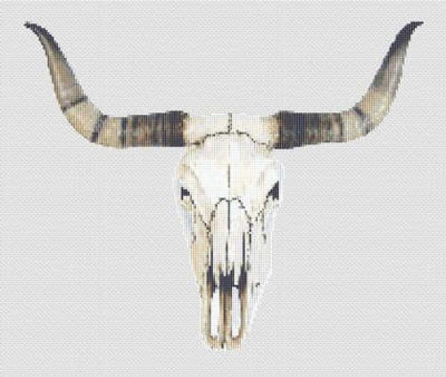 Texas Longhorn Skull Cross Stitch Pattern Western