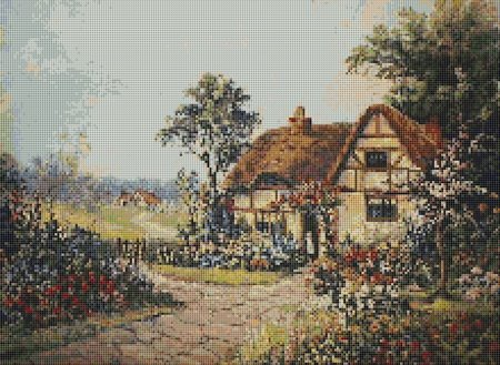 Thatched Cottage English Country Garden Cross Stitch Pattern