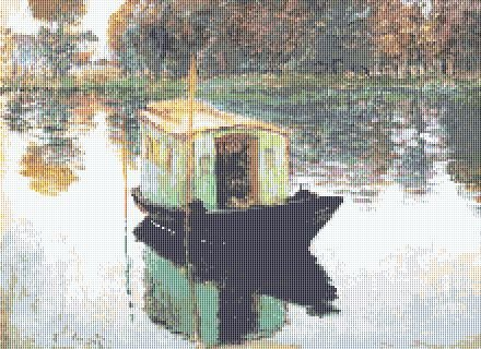 Monet Boat on the River Cross Stitch Pattern Chart