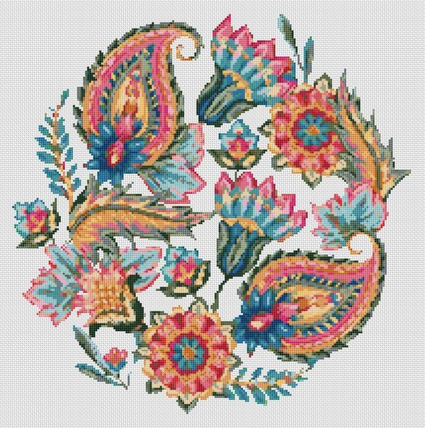 Oriental Flowers and Leaves Circle Counted Cross Stitch Pattern