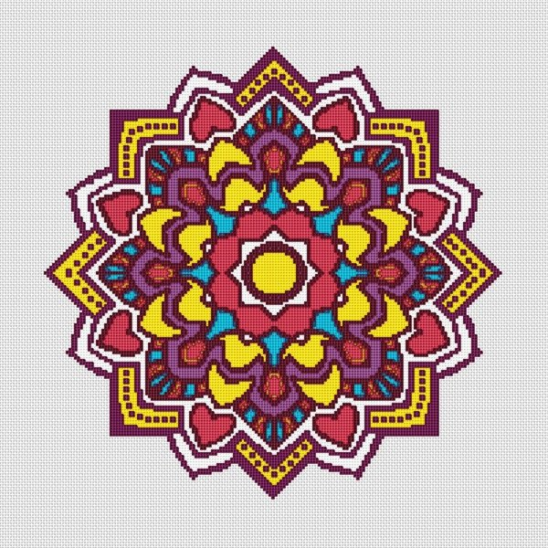 Colorful Mosaic Mandala Cross Stitch Pattern 001