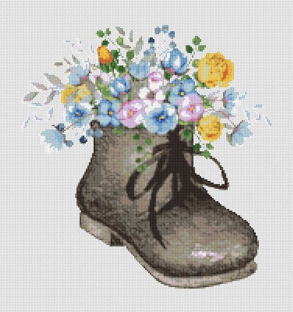 Old Fashioned Boot With Flowers Right Foot Cross Stitch Pattern