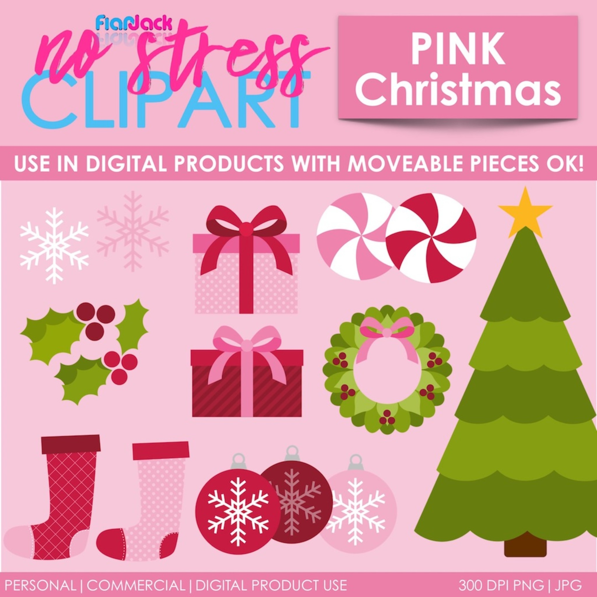 Pink Christmas Clipart Flapjack Educational Resources