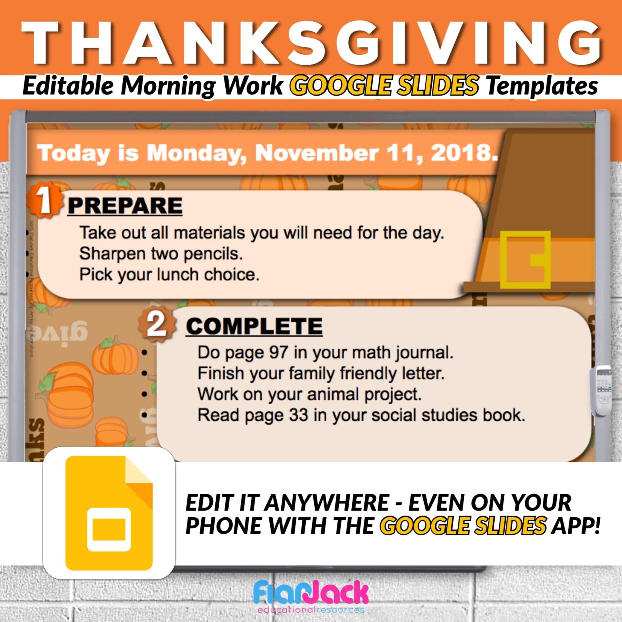 Editable THANKSGIVING Morning Work GOOGLE SLIDES Templates - FlapJack  Educational Resources