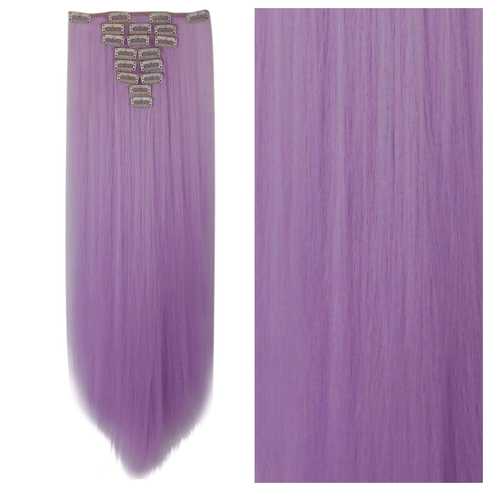 Purple Clip In Hair Extensions 26 Double Weft 200g Pastel Rainbow