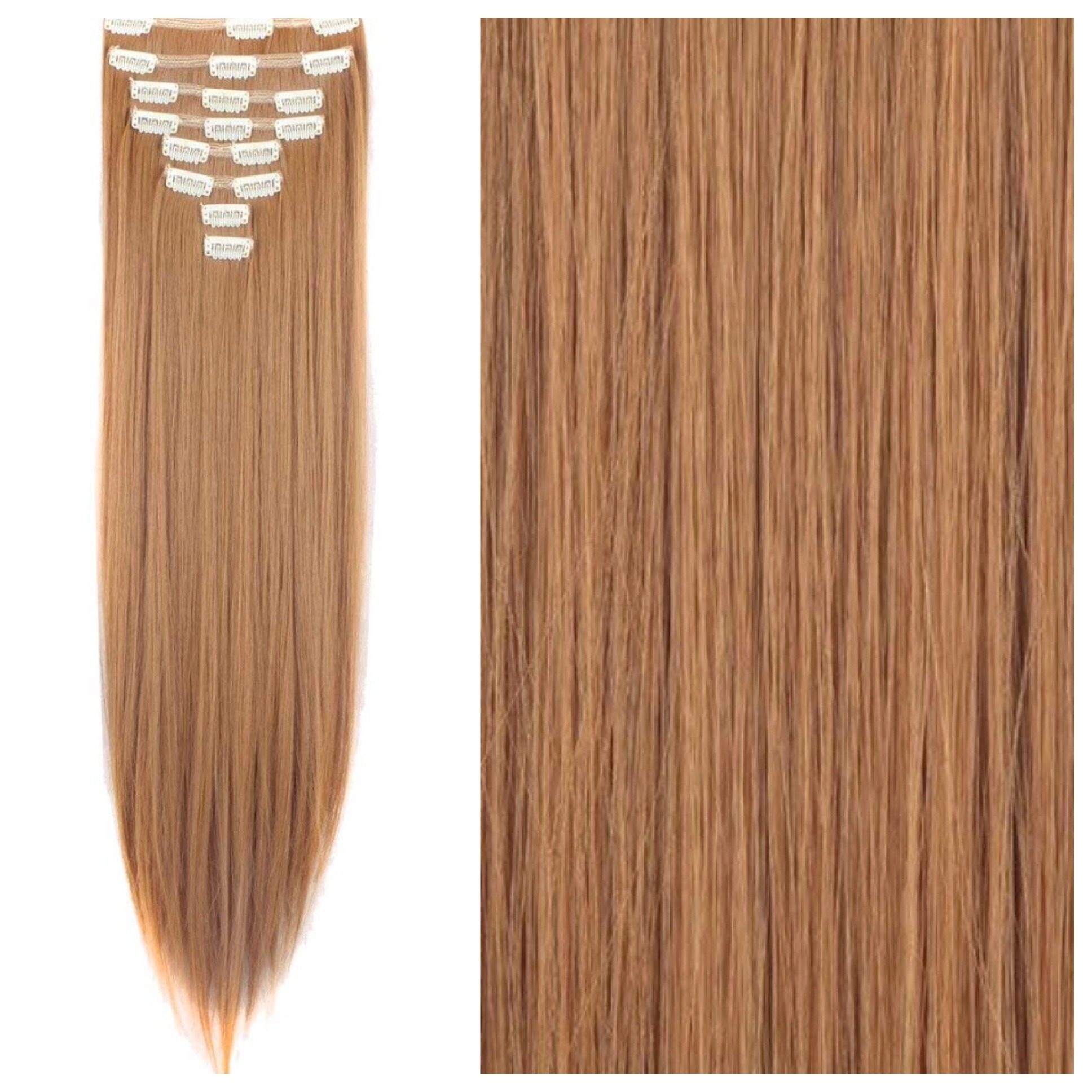 Ginger Brown Clip In Hair Extensions 26 Red Brown Remy Human Hair