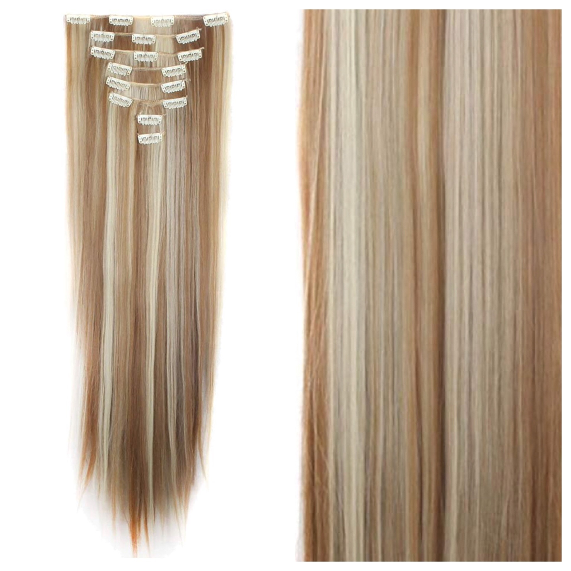 Ginger Brown With Blonde Highlights Clip In Hair Extensions 26