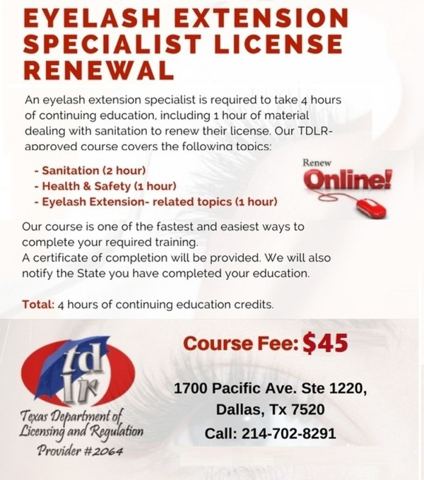 Tdlr 4 Hour Eyelash Extension Specialist Continuing Education Courses