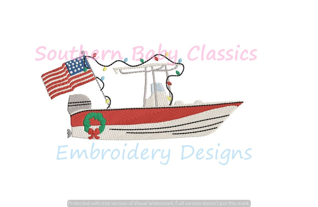 Christmas Skiff Boat Fill Machine Embroidery Design Lights Wreath -  Southern Baby Classics