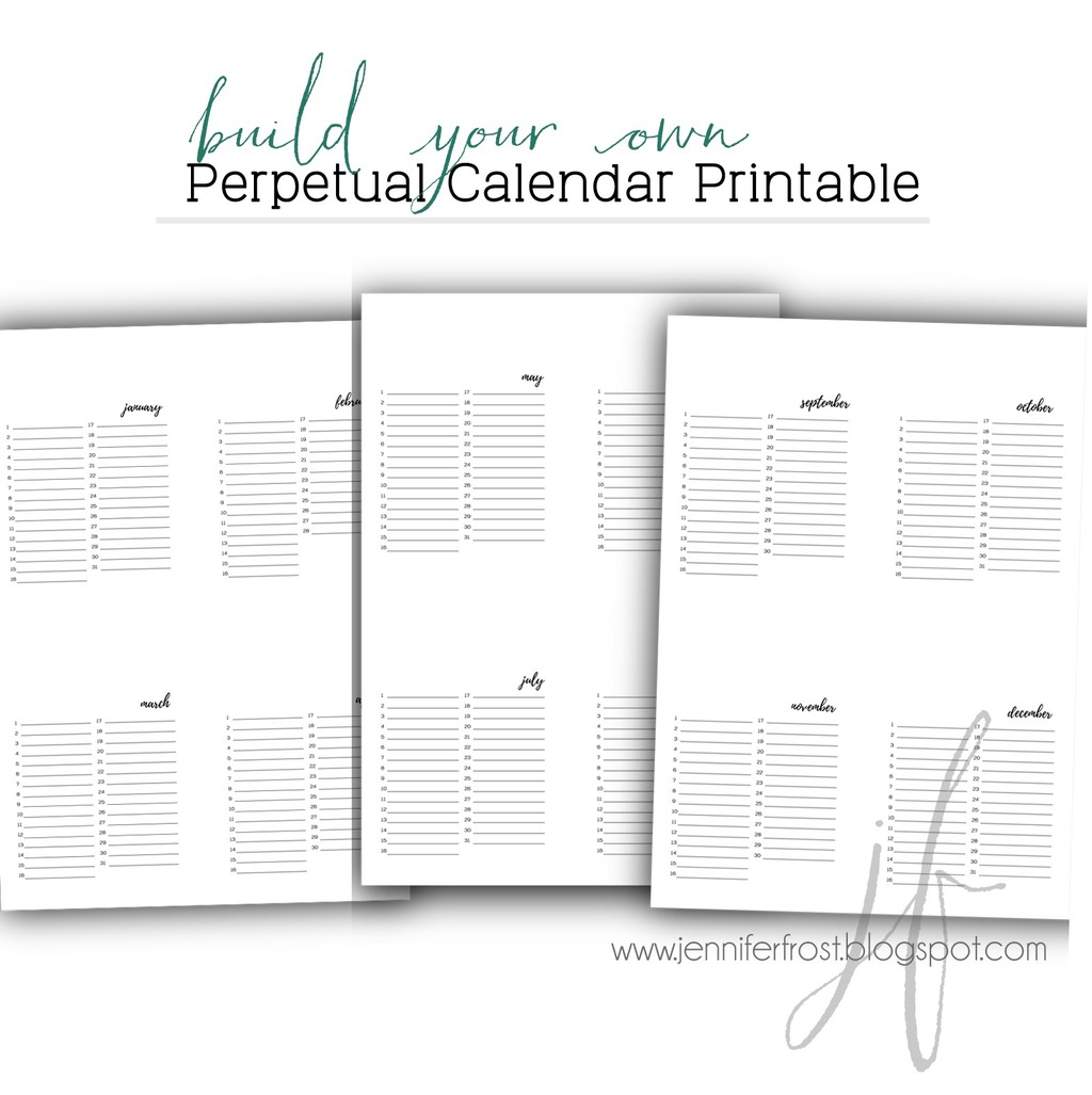 photo relating to Perpetual Calendar Printable identify Perpetual Calendar Printable - Printables for Papercrafters