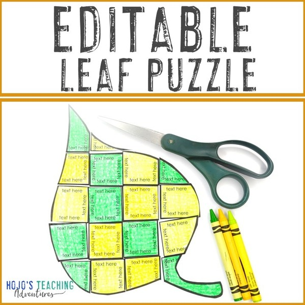 EDITABLE Leaf Puzzle for Elementary or Middle School Kids