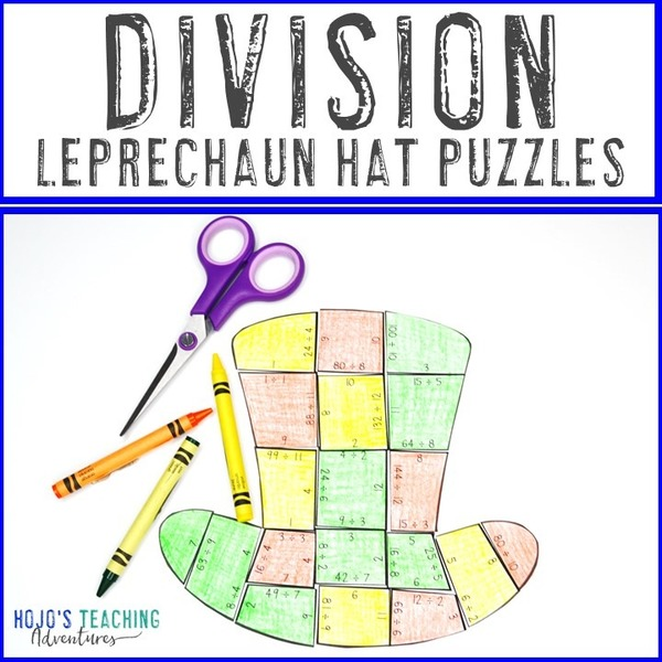 DIVISION Leprechaun Hat Puzzles for 3rd, 4th, or 5th Grade