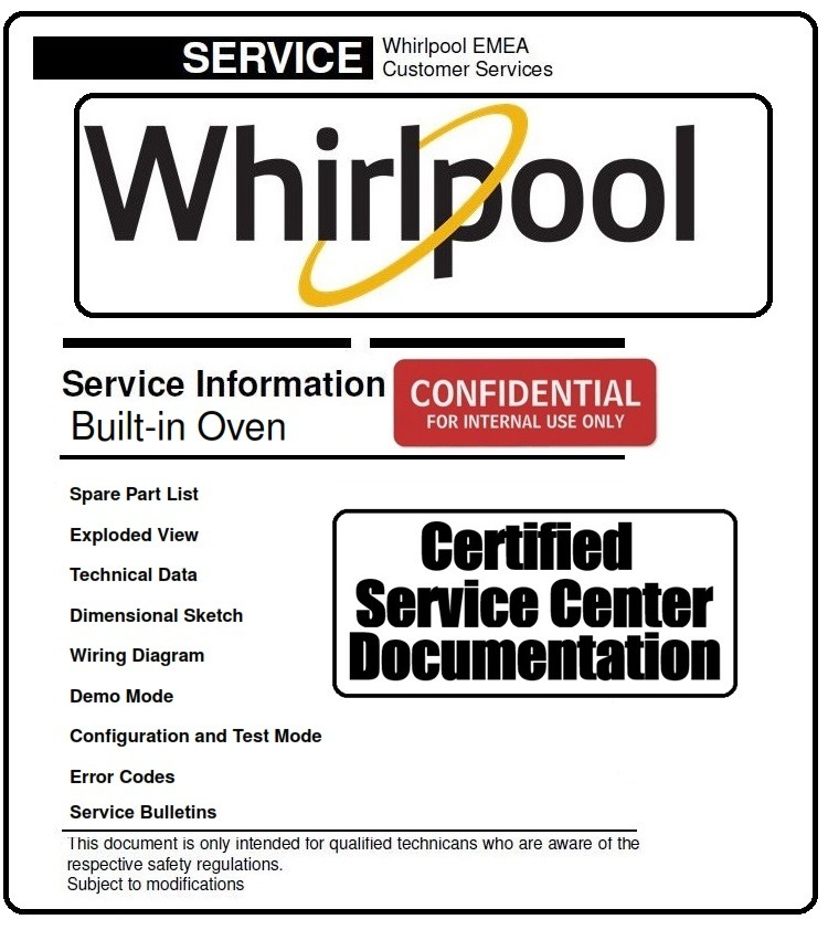 Whirlpool AKZM 8920 GK Service Manual and Technicians Guide - ANY Service  Manual
