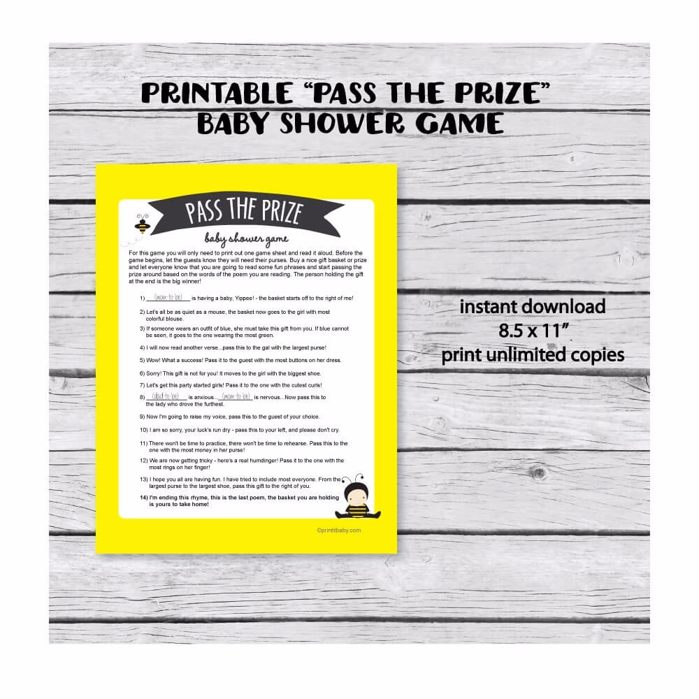 Printable Pass The Prize Baby Shower Game Baby Bee Baby