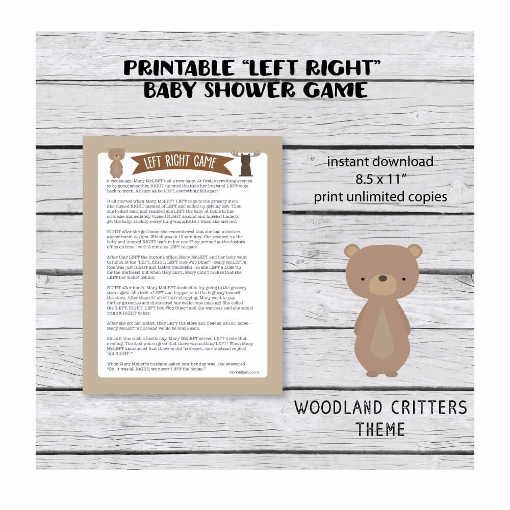 Printable Left Right Baby Shower Game Woodland Creatures Theme   Print It  Baby