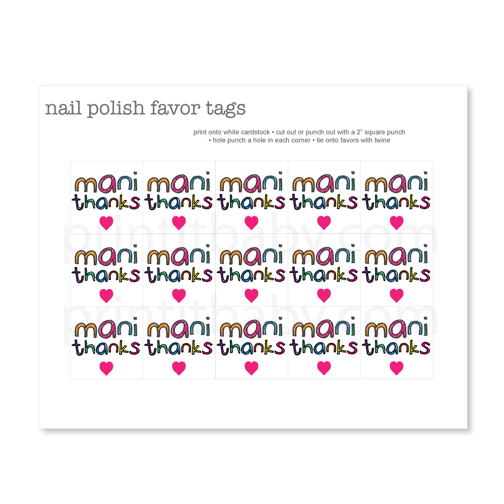 Printable Colorful Mani Thanks Favor Tags - Print It Baby