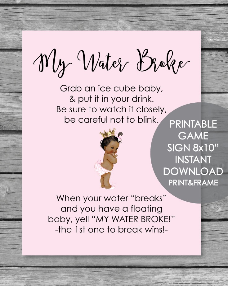 Printable 8x10 Quot My Water Broke Baby Shower Game African