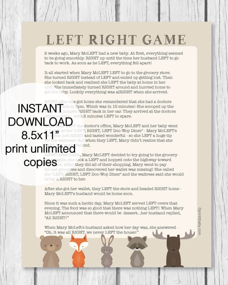 Printable Left Right Baby Shower Game   Woodland Animal Theme   Print It  Baby