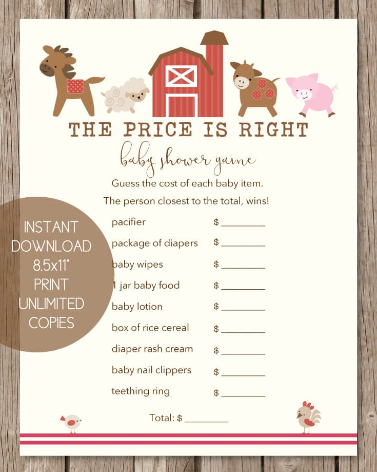 The Price Is Right Baby Shower Game - Farm Animals Theme - Print It Baby