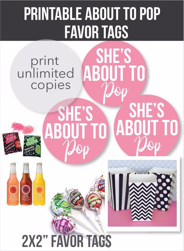 Printable pink she39s about to pop favor tags printitbabycom print it baby for About to pop labels