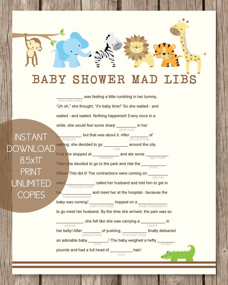 image relating to Baby Shower Mad Libs Printable Free titled Youngster Shower Crazy Libs - Kid Shower Suggestions
