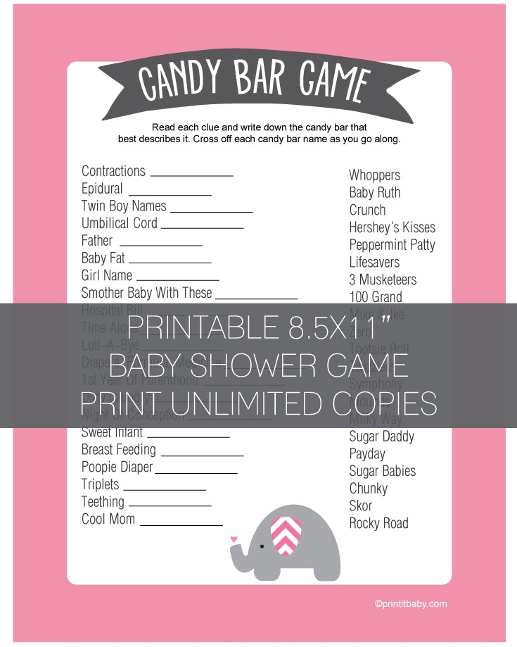 Baby Shower Candy Bar Game Pink Elephant Jungle Theme Print It Baby