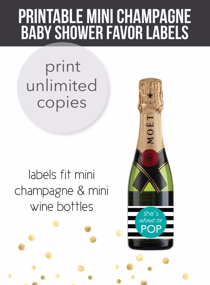 ac481df1363e Teal She's About To Pop - Mini Champagne Baby Shower Favor Labels - Print  It Baby