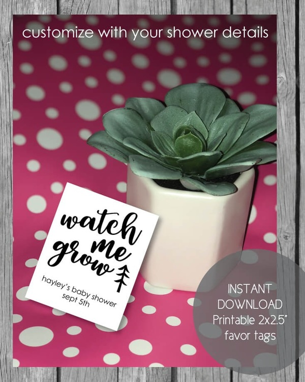 Printable Watch Me Grow Baby Shower Favor Tags