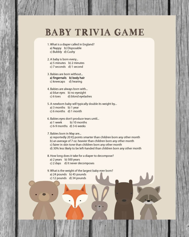 Printable Baby Shower Trivia Game Woodland Animal Theme Print It