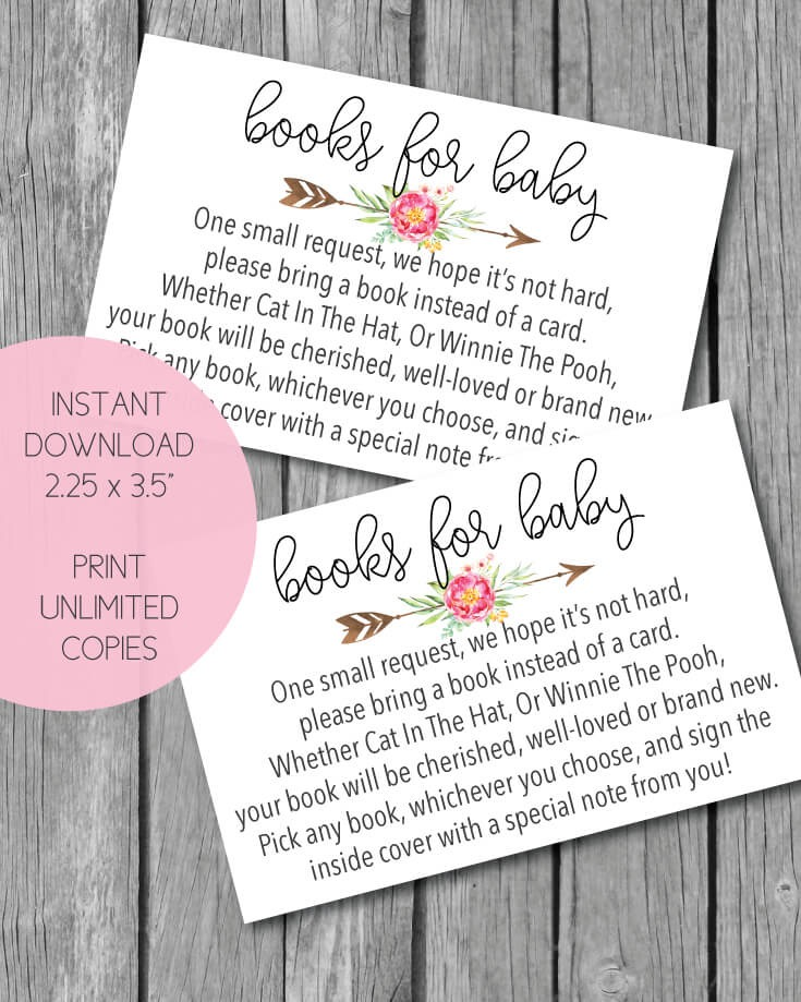 Printable Pink Boho Arrow Flowers Books For Baby Cards A Shower