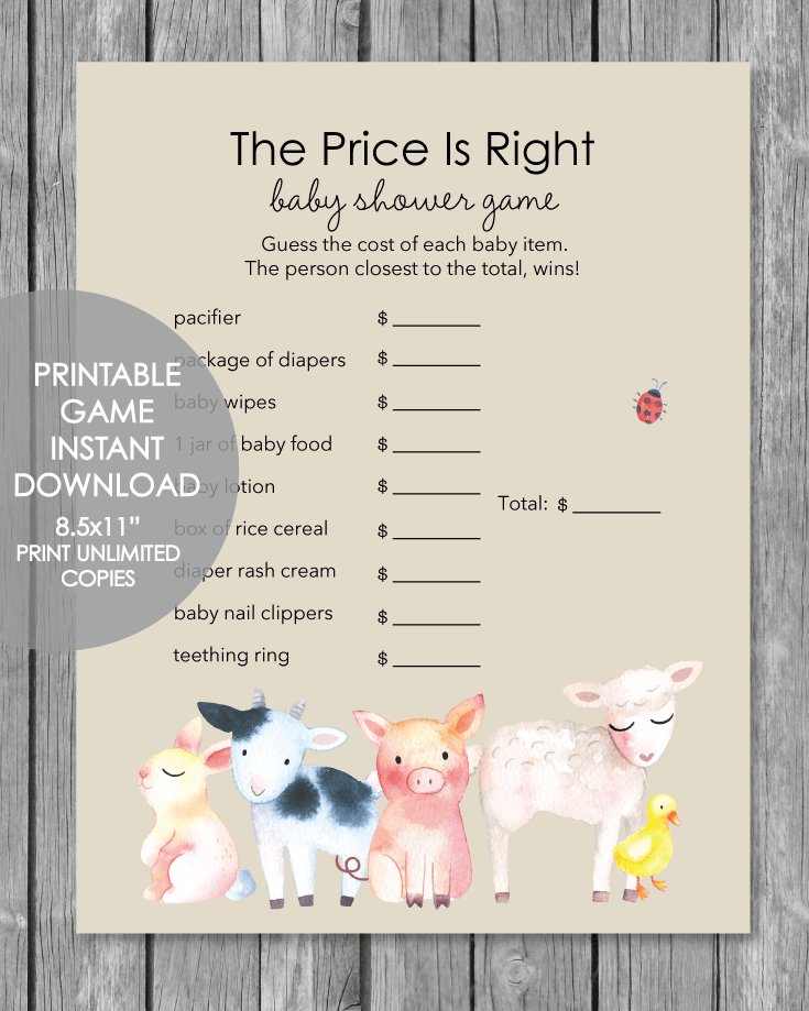printable baby shower game - the price is right