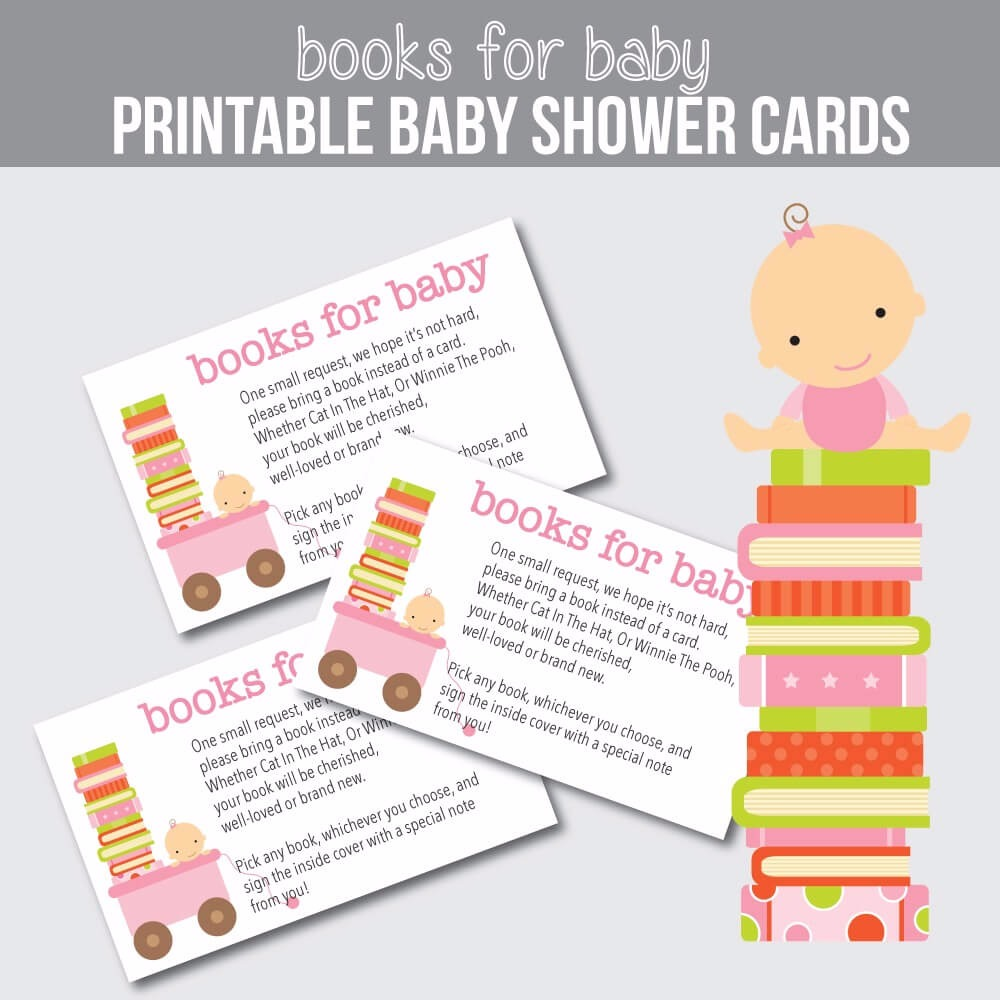printable pink baby please bring a book instead of a card baby shower cards print it baby - Baby Shower Card Note