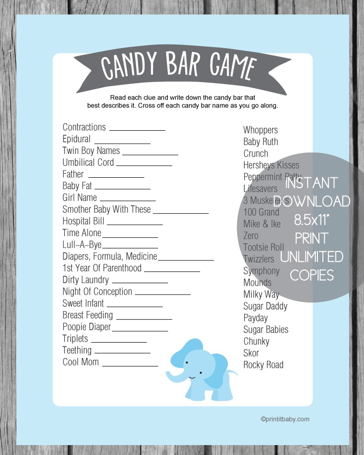 Adorable image throughout printable baby shower candy bar game with answers