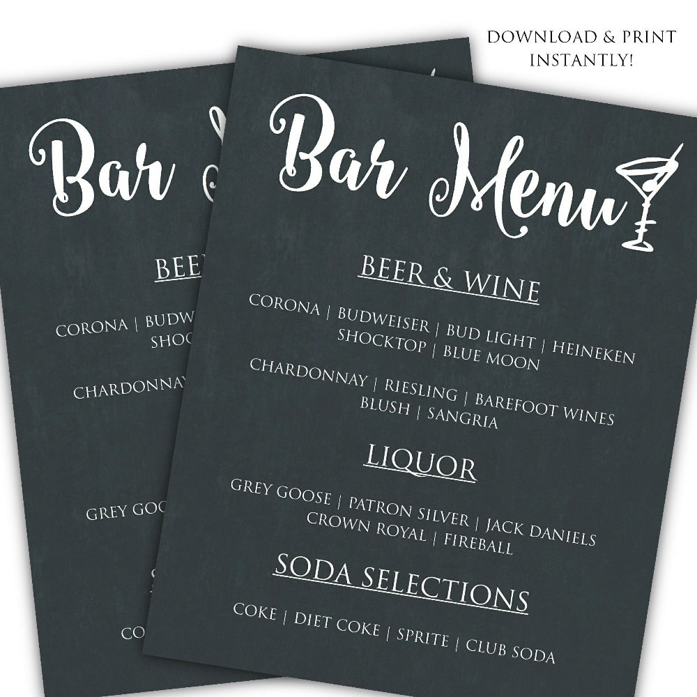 Printable diy bar menu template posh pixel boutique for Wedding drink menu template free