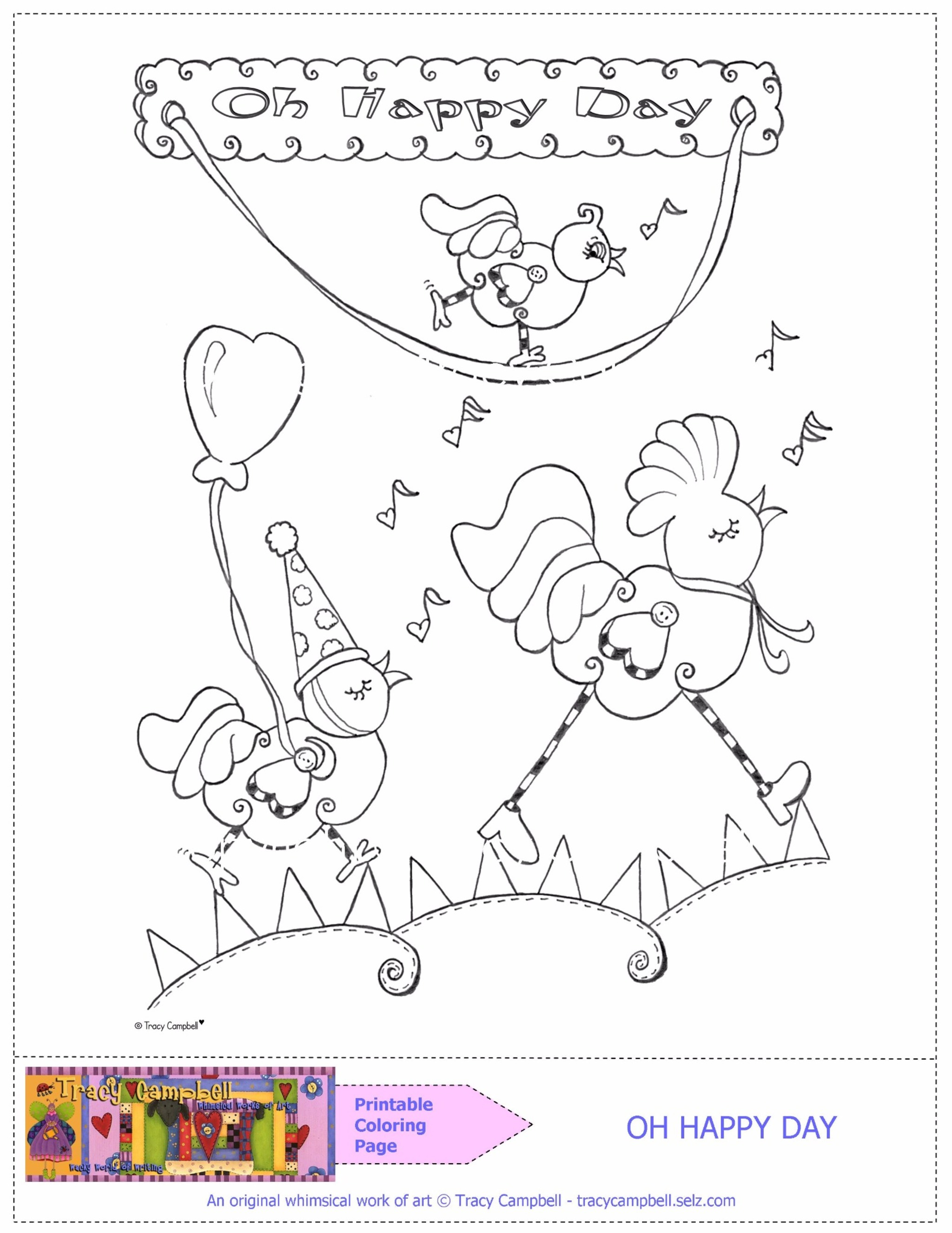 PRINTABLE COLORING PAGE—OH HAPPY DAY