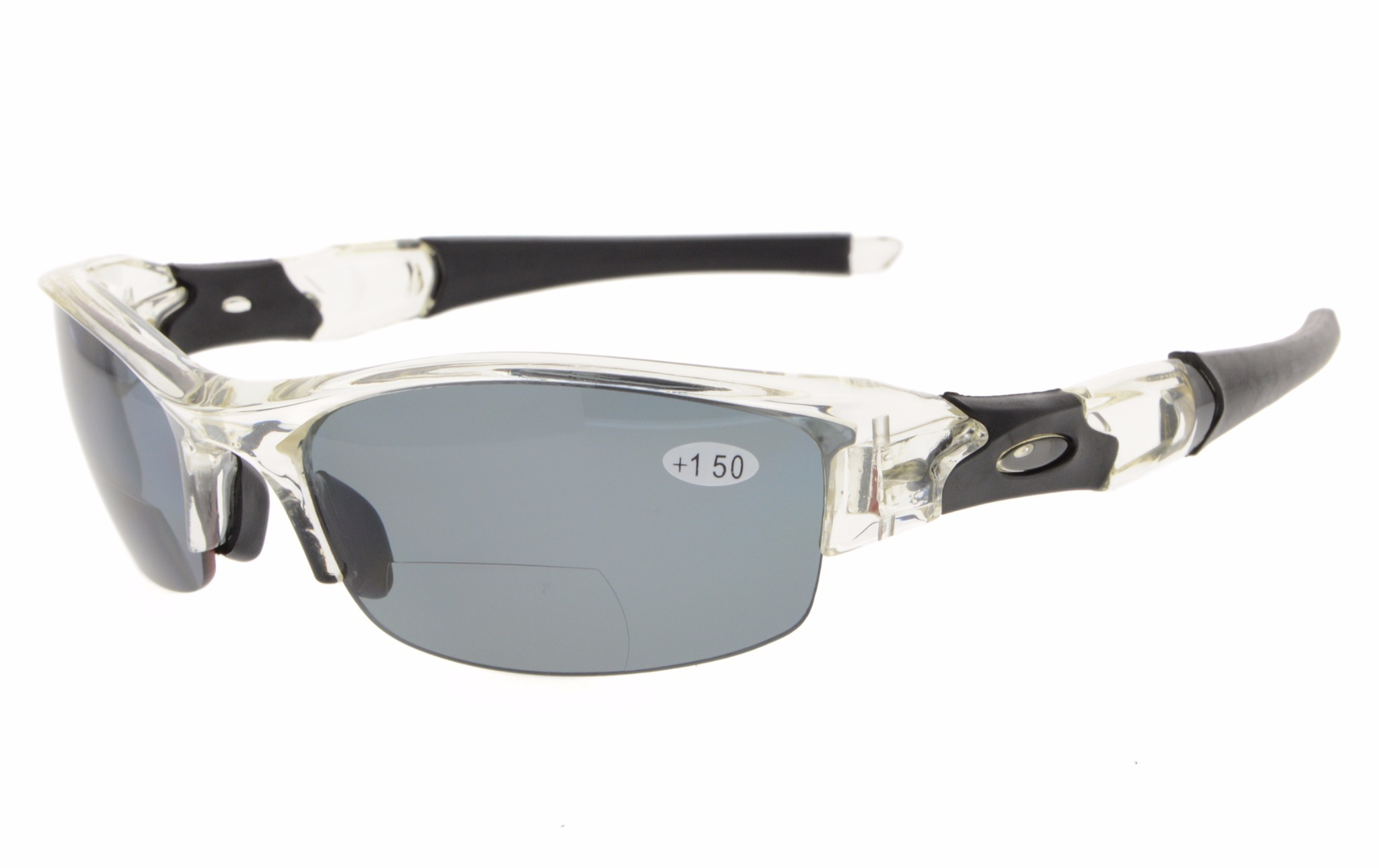 37140e72e3 Eyekepper TR90 Sports Half-Rimless Polarized Bifocal Reading Sunglasses  TH6166PGSG-Clear Frame