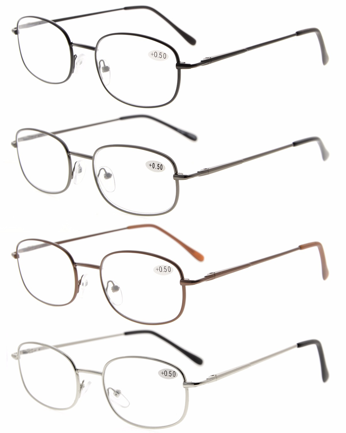 a7202157d1 Eyekepper Metal Frame Spring Hinged Arms Reading Glasses Pack of 4 Pairs  R3232-4pcs
