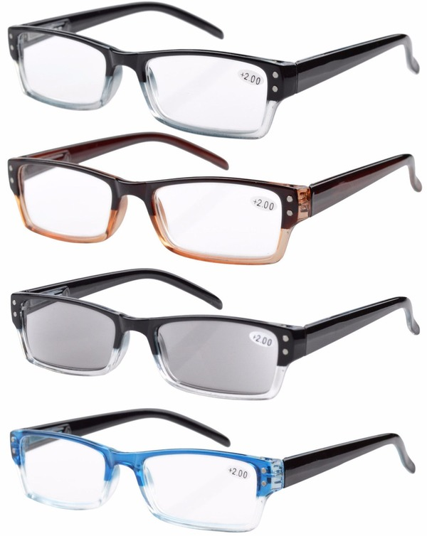 965b27d5a37 Eyekepper 4-pack Spring Hinges Rectangular Reading Glasses Includes Sun  Readers R012-Mix