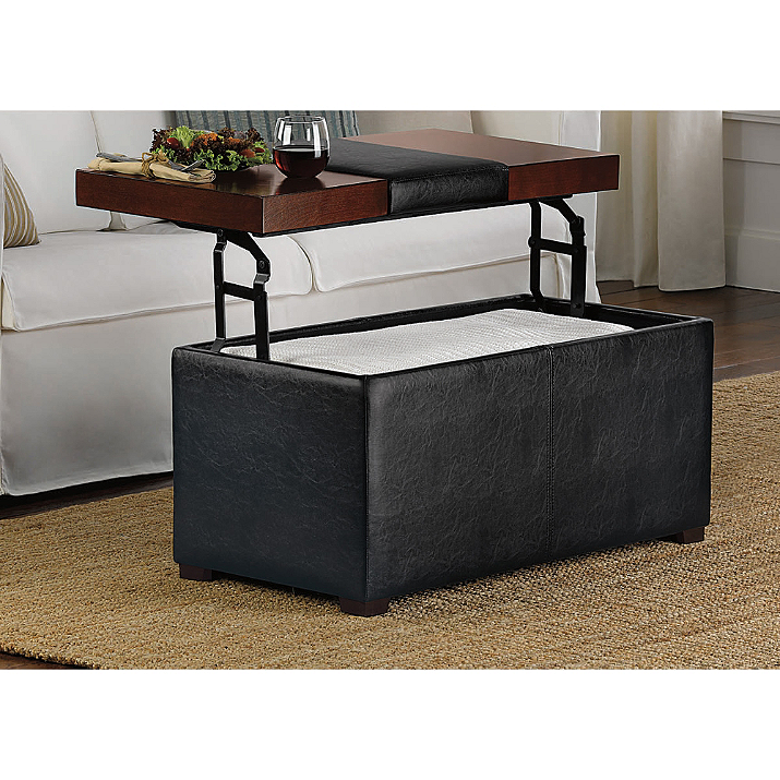 Storage Ottoman Top Lift Leather Seat Furniture Room Brown