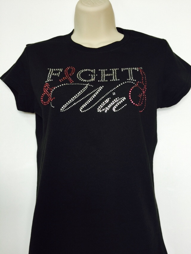 Fight & Win Rhinestone T-Shirt - Black